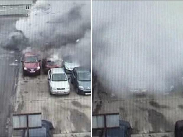 Imagem do circuito fechado de vídeo mostram o momento da explosão que matou uma pessoa - Crédito: Foto: Reprodução / BBC