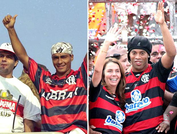 Romário ganhou carreata no Rio em 1995. Ronaldinho preferiu a festa da torcida na Gávea para sua chegada, 16 anos depois da festa preparada para o Baixinho - Crédito: Foto: Editoria de Arte / GLOBOESPORTE.COM