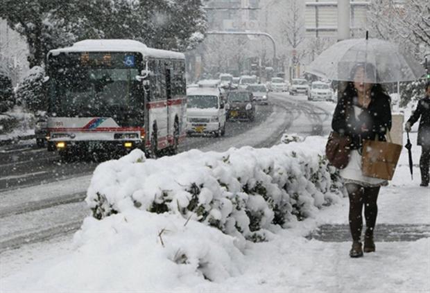 Nevasca em Nagoya, em Aichi, Japão, onde se concetra a maior parte das unidades de produção da Toyota - Crédito: Foto: AFP