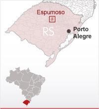 Localização de Espumoso - Crédito: Foto: Editoria de Arte/G1
