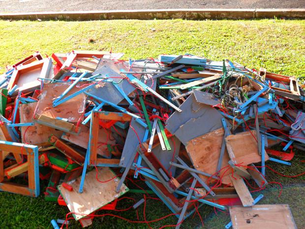 Droga estava escondida em armações de bancos de madeira - Crédito: Foto: Divulgação/PRF