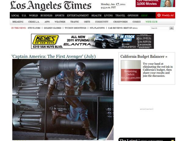 Imagem inédita do ator Chris Evans como Capitão América no filme que estreia em julho de 2011 - Crédito: Foto: Reprodução/Los Angeles Times