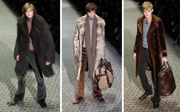 Propostas de inspiração setentista da Gucci para o inverno 2011. - Crédito: Foto: AP