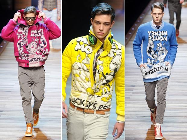 A grife masculina D&G, linha jovem da marca italiana de alta-costura Dolce & Gabbana, apresentou uma coleção bem-humorada nesta terça-feira - Crédito: Foto: AP