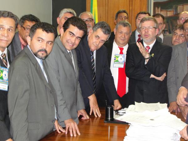 Marçal, membros da COBAP, da Central Sindical e  Marco Maia - Crédito: Foto: Divulgação