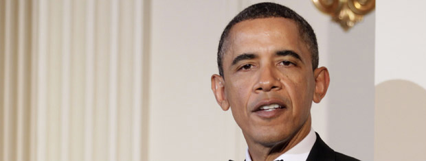 O presidente dos EUA, Barack Obama, durante jantar em homenagem ao presidente da China, Hu Jintao, nesta quarta-feira - Crédito: Foto: AP