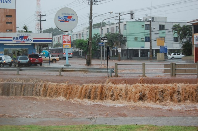 A última chuva inundou a Capital este mês Foto: Campo Grande News -