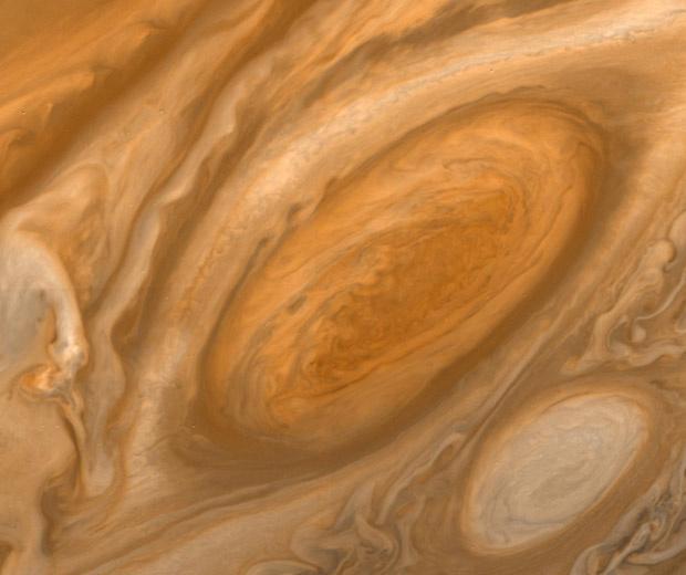 Tempestade na superfície de Júpiter feita de distância de mais de 2,6 milhões de quilômetros - Crédito: Foto: Nasa