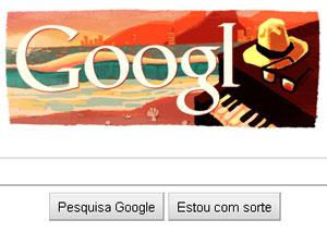 Logo do Google recebeu desenho da orla do Rio de Janeiro em homenagem a Jobim.  - Crédito: Foto: Reprodução