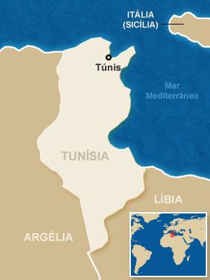 Mapa localiza a Tunísia. - Crédito: Foto: Arte G1