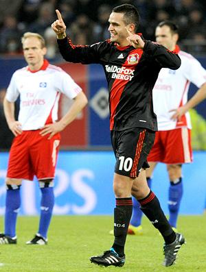 Renato Augusto comemora um gol pelo Bayer Leverkusen - Crédito: Foto: AFP