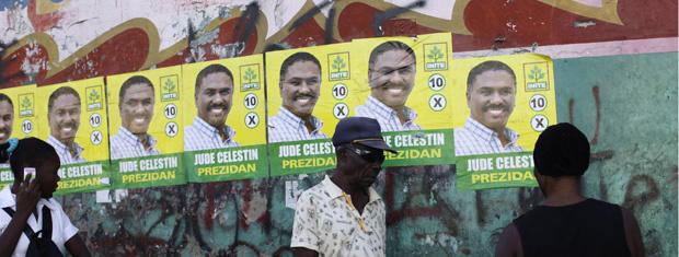 Cartazes da candidatura de Jude Celestin são vistos nas ruas de Porto Príncipe, capital do Haiti, em 20 de janeiro. - Crédito: Foto: Reuters