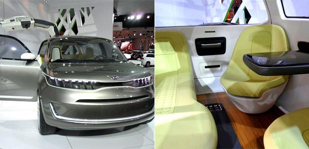 Kia KV7, cujo interior tem sofá, mesa e bancos giratórios - Crédito: Foto: Caroline Hasselman/G1