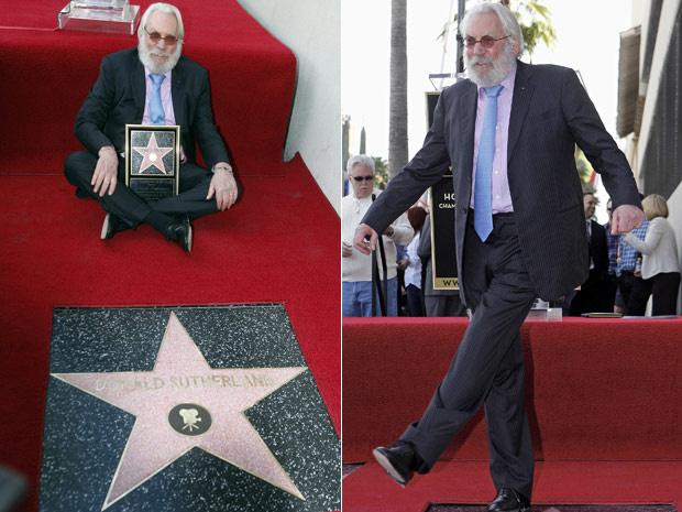 O ator Donald Sutherland posa ao lado de sua estrela na calçada da fama - Crédito: Foto: AP