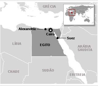 Mapa do Egito mostra as cidades em que ocorrem os principais protestos - Crédito: Foto: Arte G1