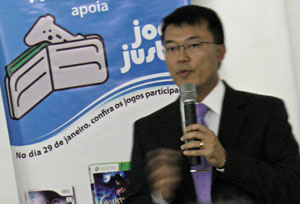 Marcos Chien, advogado tributarista da Acigames, em palestra no dia dos descontos de games }  - Crédito: Foto: Gustavo Petró/G1