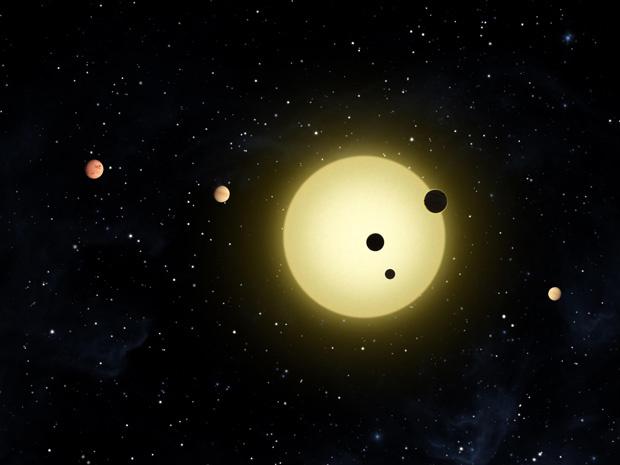 Representação divulgada pela Nasa de Kepler 11 e seus seis planetas. - Crédito: Crédito: Tim Pyle / Nasa