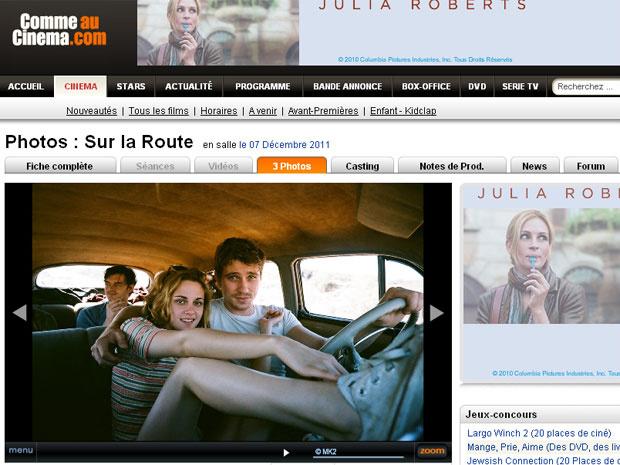Kristen Stewart em cena de \'On the road\' - Crédito: Foto: Reprodução/Comme au Cinema