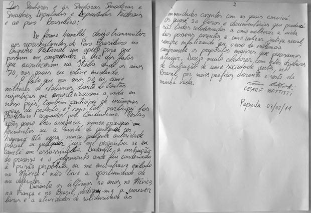 A carta de Cesare Battisti apresentada pelo senador Eduardo Suplicy - Crédito: Foto: Reprodução