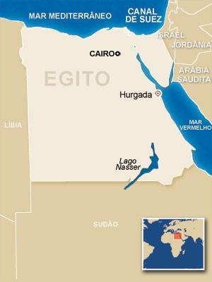 Mapa mostra localização da cidade de Hurgada, às margens do Mar Vermelho - Crédito: Foto: Editoria de Arte / G1