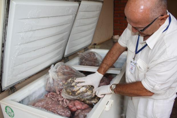 Valdir Gaparoto, mostra o produto apreendido ontem em Dourados - Crédito: Foto: Hédio Fazan/PROGRESSO