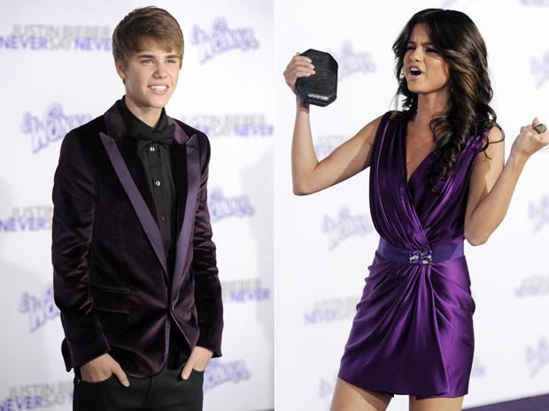 Justin Bieber e sua suposta namorada, a atriz Selena Gomez, participam do lançamento de \'Never say never\' - Crédito: Foto: AP