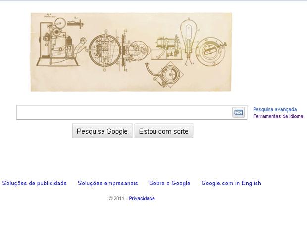 O Google mudou o logotipo do seu site de buscas para homenagear o 164º aniversário do inventor Thomas Edison, comemorado nesta sexta-feira - Crédito: Foto: Reprodução