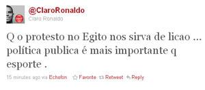 Ronaldo comenta renúncia de Mubarak no Twitter  - Crédito: Foto: Reprodução