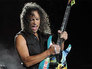 O guitarrista Kirk Hammett durante show do Metallica em Porto Alegre - Crédito: Foto: Camila Domingues/Opinião Produtora