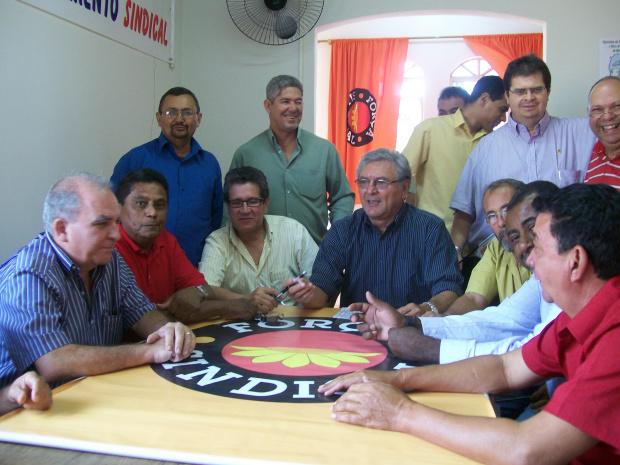 Membros da executiva nacional da Força na reunião com sindicalistas de MS - Crédito: Foto : Divulgação