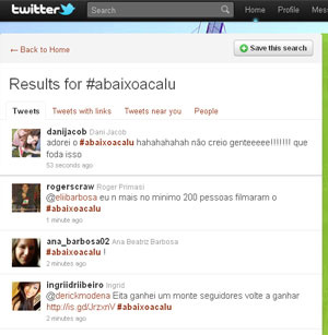 O tópico #abaixoacalu era um dos termos mais comentados nesta quarta-feira - Crédito: Foto: Reprodução