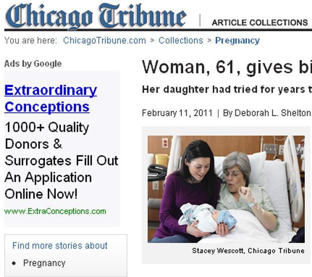 Imagem mostra Kristine Casey e a filha Sarah com o bebê, Fillean - Crédito: Foto: Chicago Tribune / Reprodução