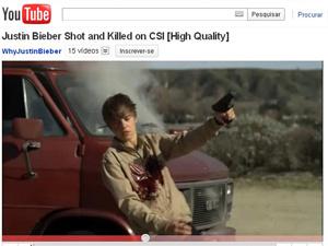 Cena da morte do personagem de Justin Bieber em vídeo no YouTube - Crédito: Foto: Reprodução