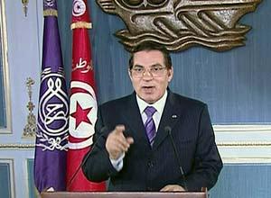 O presidente da Tunísia, Zine al-Abidine Ben Ali, em pronunciamento divulgado em cadeia de TV  - Crédito: Foto: Reprodução / Reuters