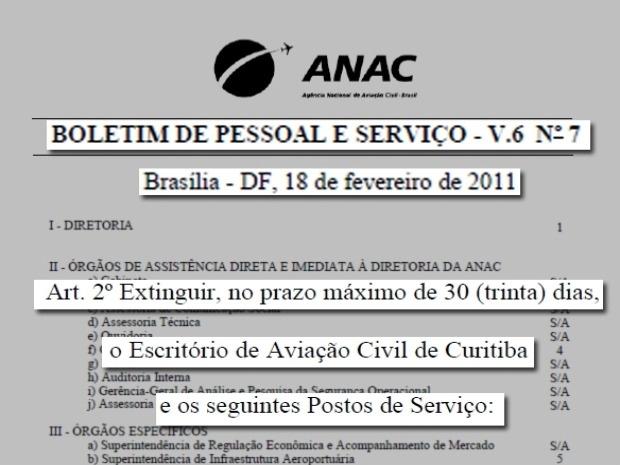 Documento comprova o fechamento do escritório da ANAC em Curitiba. - Crédito: Foto: Reprodução RPC/ TV