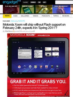 Anúncio do \'Xoom\' mostra que versão com Flash chega na primavera - Crédito: Foto: Reprodução/Engadget