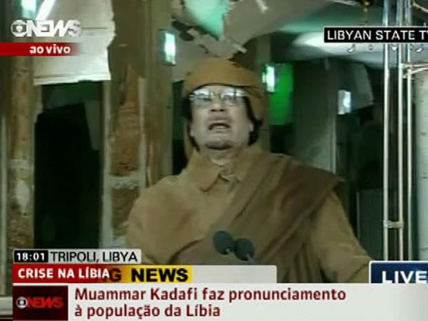 Muammar Kadhafi durante discurso nesta terça-feira - Crédito: Foto: Reprodução de vídeo