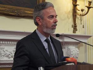 O ministro das Relações Exteriores, Antonio Patriota, durante pronunciamento na sede da ONU.  - Crédito: Foto: Cristina Índio do Brasil / G1