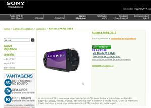 Loja virtual da Sony vende oficialmente o PSP, mas sem jogo - Crédito: Foto: Reprodução