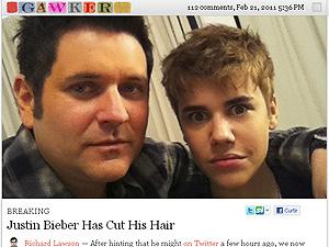 Justin Bieber e seu novo visual, ao do do músico Jay DeMarcus - Crédito: Foto: Reprodução/Gawker