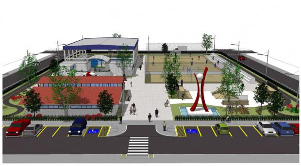 Perspectiva da Praça da Juventude que será construída em Dourados com emenda de Marçal - Crédito: Foto: Reprodução
