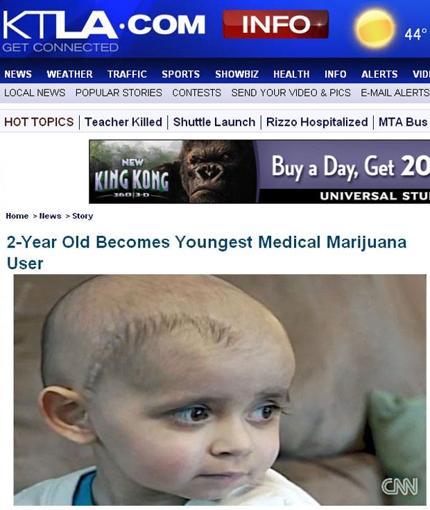 O jovem Cash Hyde, que retirou um tumor do cérebro e passa por tratamento - Crédito: Foto: KLTA News / reprodução