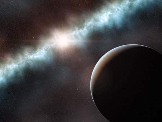Reprodução artística da presença de um planeta em disco de poeira e gás ao redor de uma estrela com pouca idade localizada na constelação do Camaleão, a 350 anos-luz de distância - Crédito: Crédito: L. Calçada / ESO
