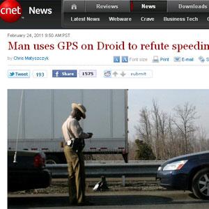 Americano conseguiu escapar de multa ao mostrar GPS como prova - Crédito: Foto: Reprodução/CNET