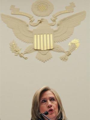 A secretária de Estado dos EUA durante reunião nesta terça - Crédito: Foto: Mark Wilson/ Getty Images/ AFP