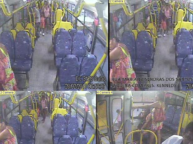 Câmera de ônibus mostra amante do pai com menina Lavínia - Crédito: Foto: Divulgação / PCERJ