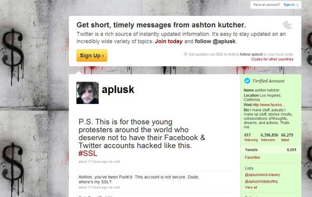 Duas mensagens afirmando que o perfis no Twitter são inseguros foram deixados pelo invasor - Crédito: Foto: Reprodução