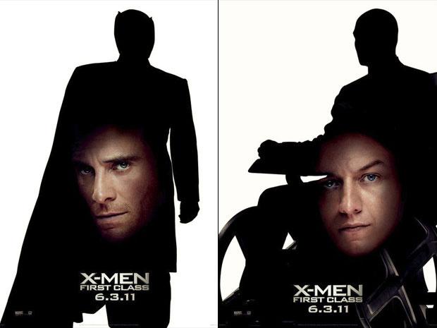 Nesses dois novos pôsteres de \'X-men - first class\', as sombras do vilão Magneto - Crédito: Foto: Divulgação