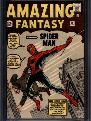 Capa da \'Amazing fantasy\' com o Homem-Aranha, vendida por US$ 1,1 milhão. - Crédito: Foto: AP