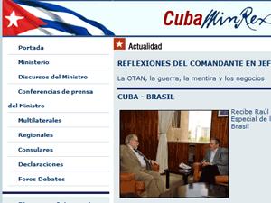 Registro da visita de Marco Aurélio Garcia no site do Ministério das Relações Exteriores de Cuba  - Crédito: Reprodução